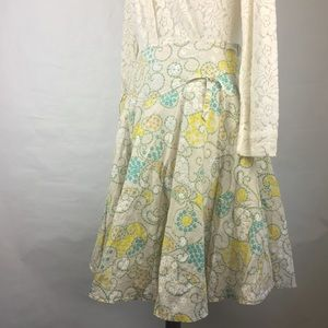 Anthropologie Odille Yellow and Blue Floral Skirt